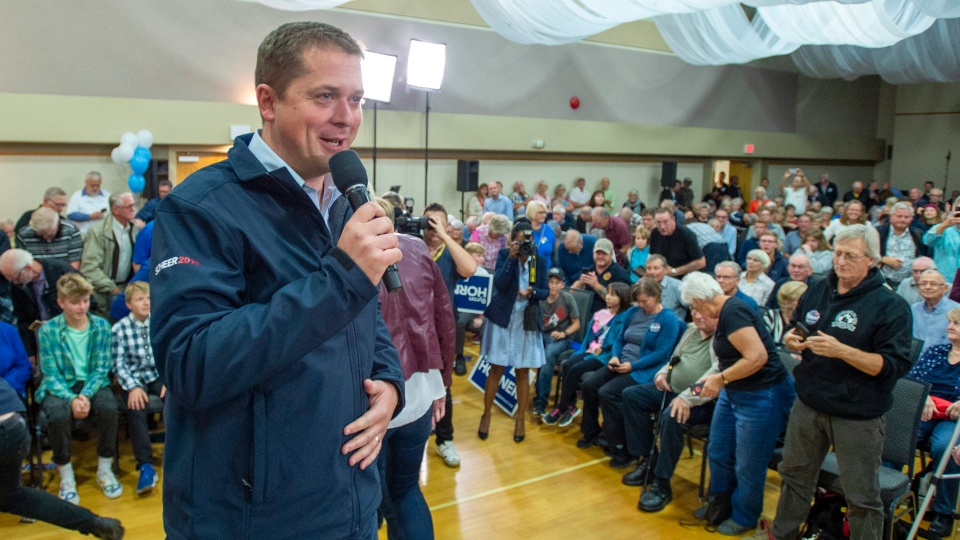 Federal Conservative Leader Andrew Scheer speaks at a rally in Parksville, B.C., on Sunday, Sept. 15, 2019. THE CANADIAN PRESS/Frank Gunn
