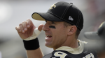 New Orleans Saints quarterback Drew Brees watches from the sidelines after getting hurt during the first half of an NFL football game against the Los Angeles Rams Sunday, Sept. 15, 2019, in Los Angeles. (AP / Marcio Jose Sanchez)