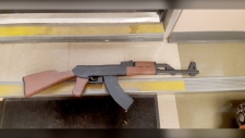 Calgary police seized this papier-mache assault rifle at the University of Calgary. (Calgary police)