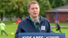 Federal Conservative leader Andrew Scheer makes an announcement at a campaign event in Kelowna, B.C. on Monday September 16, 2019. THE CANADIAN PRESS/Frank Gunn