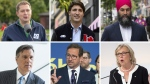 Conservative Party of Canada Leader Andrew Scheer, Liberal Party Leader Justin Trudeau, NDP Leader Jagmeet Singh, Green Party Leader Elizabeth May, Bloc Quebecois Leader Yves-Francois Blanchet and People's Party of Canada Leader Maxime Bernier are pictured in this composite image. (Images via The Canadian Press)
