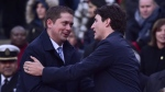Prime Minister Justin Trudeau (right) greets Federal Conservative Leader Andrew Scheer at a vigil remembering the victims of Monday's deadly van attack, at Mel Lastman Square in Toronto on Sunday, April 29, 2018. The Canadian Press/Frank Gunn