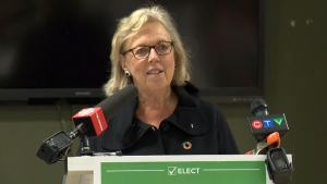 Elizabeth May speaks to media in Kitchener, Ont. (CTV News)