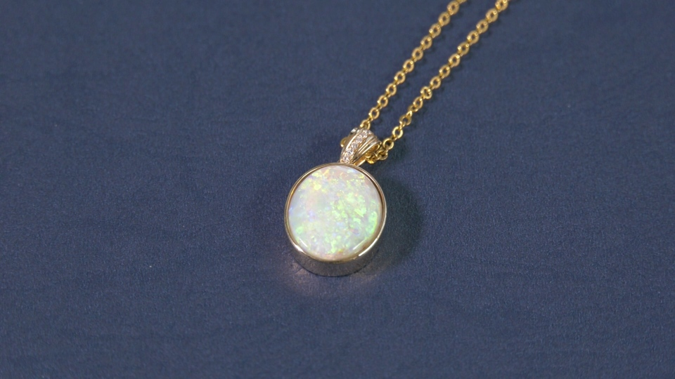The stated price tag on this 'black' opal pendant was US$9,200.