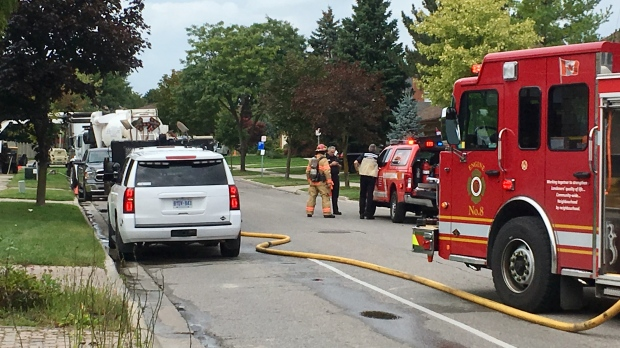 The London fire department is on scene of a gas leak on Phillbrook Drive in London, Ont. on Monday, Sept. 16, 2019. (Jim Knight / CTV London)