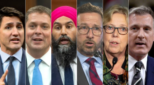 From left to right, Liberal Party Leader Justin Trudeau, Conservative Party Leader Andrew Scheer, NDP Leader Jagmeet Singh, Bloc Quebecois Leader Yves-Francois Blanchet, Green Party Leader Elizabeth May and People's Party of Canada Leader Maxime Bernier.