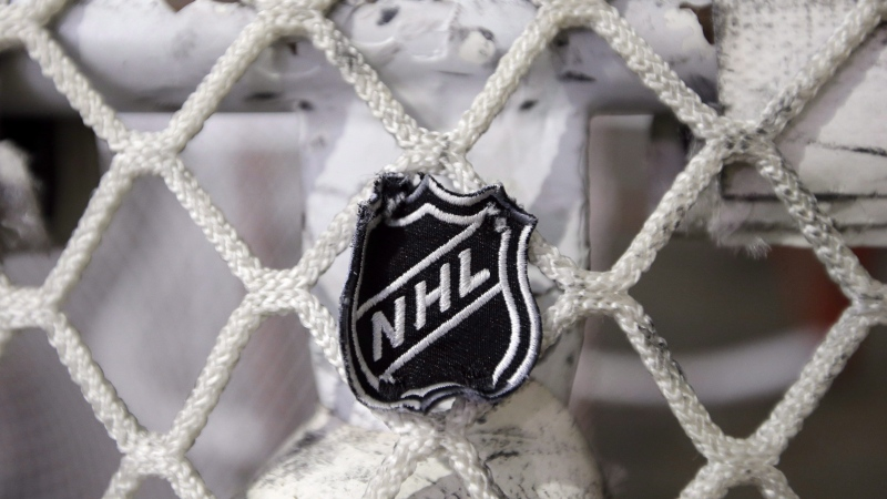 In this file photo taken Sept. 17, 2012, the NHL logo is seen on a goal at a Nashville Predators practice rink in Nashville, Tenn. THE CANADIAN PRESS/AP/Mark Humphrey