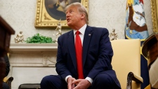 President Donald Trump speaks during a meeting with Bahrain's Crown Prince Salman bin Hamad Al Khalifa? in the Oval Office of the White House, Monday, Sept. 16, 2019, in Washington. (AP / Alex Brandon)