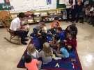 Federal Liberal Leader Justin Trudeau reads to children at Blessed Sacrament Catholic School in London, Ont. on Monday, Sept. 16, 2019. (Bryan Bicknell / CTV London)