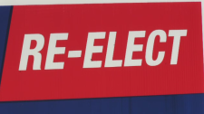 "Stephen Woodworth's election signs say ""re-elect"" on them, even though he's not the incumbent. He was the MP for Kitchener centre from 2008 until 2015."
