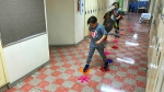 The Moving in the Halls pilot encourages kids to get active in their schools by running, hopping and playing their way down hallways. Sept. 16, 2019. (CTV News Edmonton)