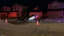 An impaired driver hit a power box and caused an outage in northwest Edmonton early Sunday morning, Edmonton police said. (Twitter/shootamcg)