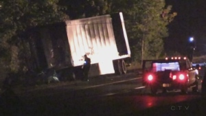 OPP investigate following a fatal crash on Highway 401 in London, Ont. on Monday, Sept. 16, 2019.. (Daryl Newcombe / CTV London)