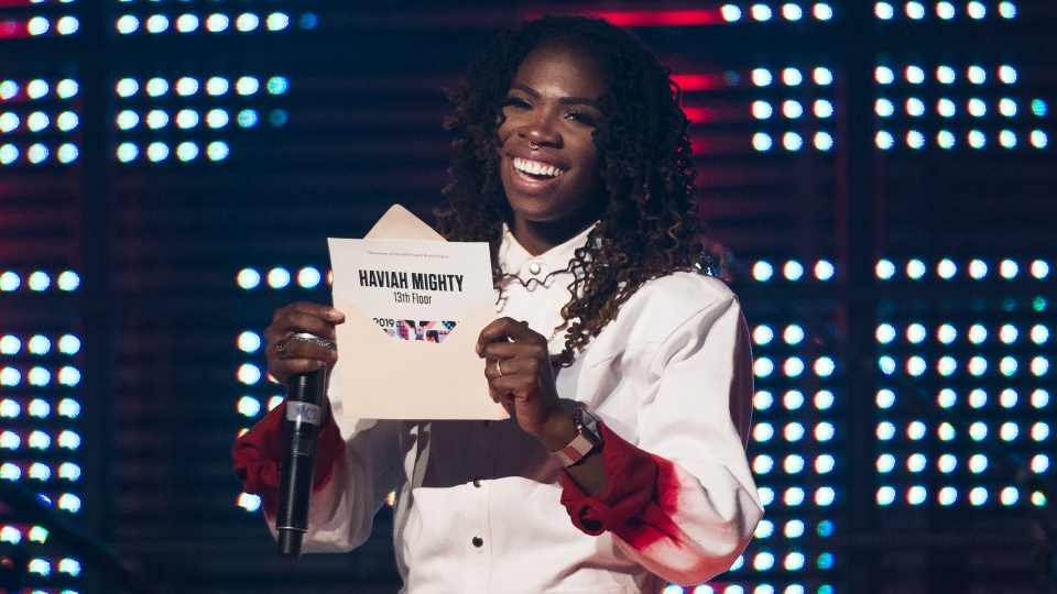 Haviah Mighty wins the 2019 Polaris Music Prize in Toronto on Monday, Sept. 16, 2019. (THE CANADIAN PRESS/Nathan Denette)