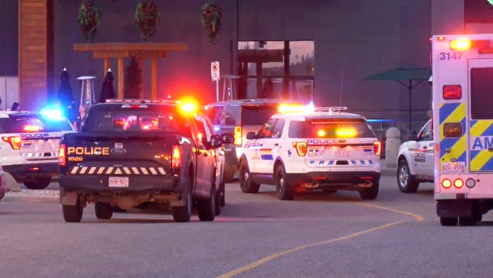 Emergency vehicles outside of a CrossIron Mills entrance during the September 16 response to a shooting