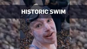 Cancer survivor swims completes historic swim