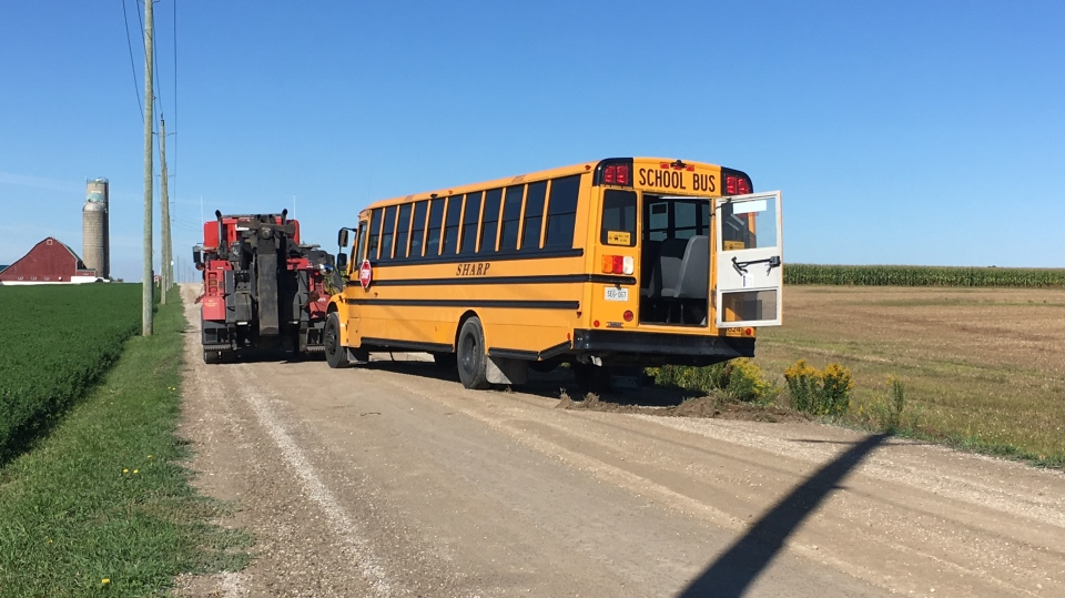 A tow on scene of a reported school bus roll over. Police say 24 students were on board and two suffered minor injuries. (Photo: Natalie Van Rooy/CTV Kitcheher) (Sept. 17, 2019)