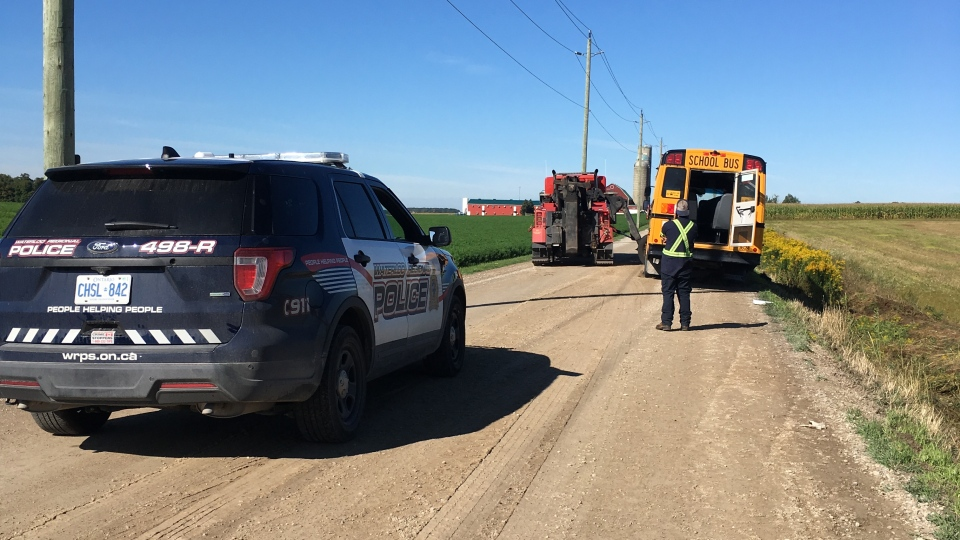 Police and a tow on scene of a reported school bus roll over. Police say 24 students were on board and two suffered minor injuries. (Photo: Natalie Van Rooy/CTV Kitcheher) (Sept. 17, 2019)