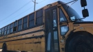 Damage of school bus that reportedly rolled over in Waterloo with 24 students inside. (Photo: Dan Lauckner/CTV Kitchener) (Sept. 17, 2019)