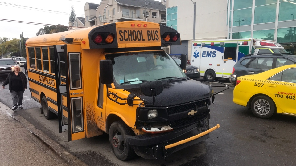 A school bus was involved in a crash on Sept. 17, 2019. (Dave Mitchell/CTV News Edmonton)