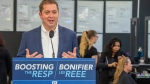 Federal Conservative leader Andrew Scheer speaks at a campaign event in Winnipeg on Tuesday September 17, 2019. Scheer says he would help parents save up to send their children to college or university by increasing the amount of money the federal government contributes to the pot. (THE CANADIAN PRESS / Frank Gunn)