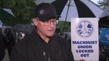Walter Gerlach with the International Association of Machinists and Aerospace Workers outside Avcorp Industries in Delta.