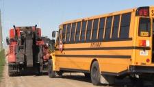 School bus full of students rolls over