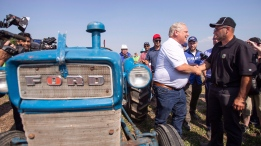 Ontario Premier Doug Ford is congratulated after plowing a furrow at the International Plowing Match in Pain Court Ont. Tuesday, September 18, 2018. THE CANADIAN PRESS/ Geoff Robins
