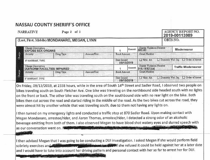 A screenshot of the police report obtained by CTVNews.ca by email on Sept. 17, 2019. (Nassau County Sheriff's Office)