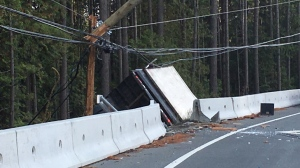 Traffic was stalled in both directions on the Malahat after a commercial truck crashed through a concrete median into a BC Hydro pole: Sept. 16, 2019 (CTV News)