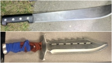 Lethbridge police seized a machete, top, and a knife, from a man near the Supervised Consumption Site. (Lethbridge police)