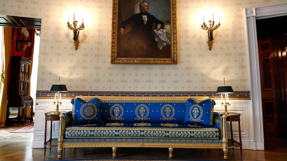 This Sept. 17, 2019, photo shows a piece of restored furniture in the Blue Room of the White House in Washington. (AP Photo/Patrick Semansky)