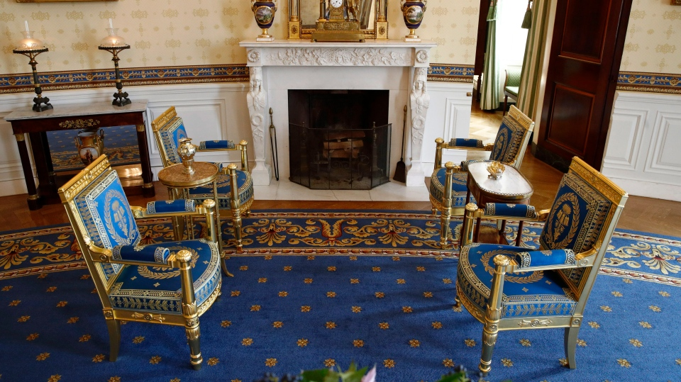This Sept. 17, 2019, photo shows restored furniture in the Blue Room of the White House in Washington. The restoration was part of the improvement projects that first lady Melania Trump has overseen to keep the well-trod public rooms at 1600 Pennsylvania Avenue looking their museum-quality best. (AP Photo/Patrick Semansky)