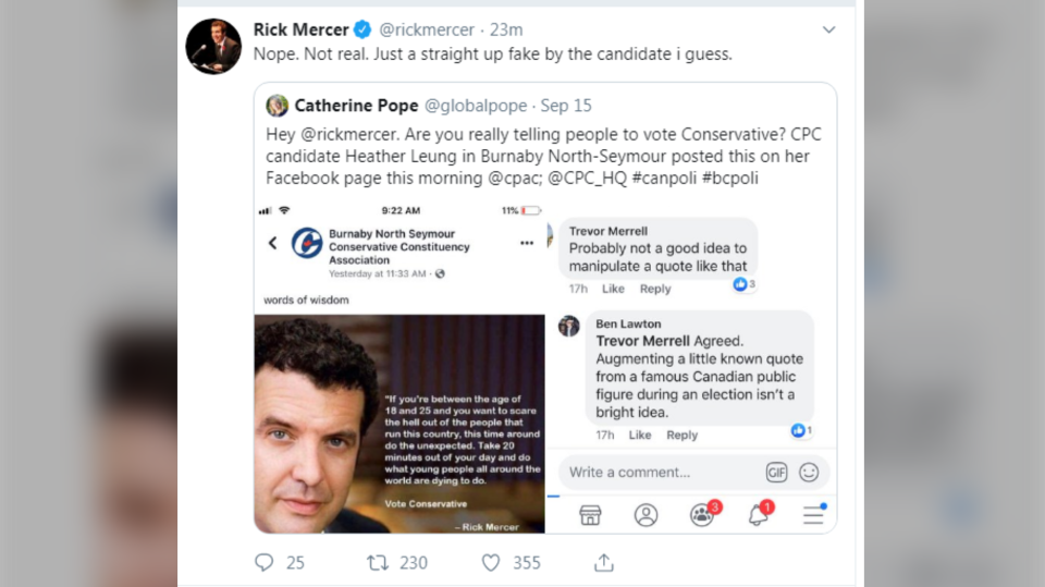 Did Rick Mercer tell people to vote for the Conservative