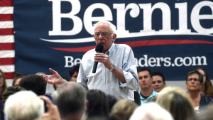 Sen. Bernie Sanders speaks during a campaign stop at the Carson City Community Center Gymnasium, Friday, Sept. 13, 2019 in Carson City, Nev. (Jason Bean/The Reno Gazette-Journal via AP)