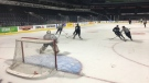 The London Knights practice on Tuesday, Sept. 17, 2019 ahead of their season opener. (Brent Lale / CTV London)