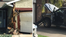 A garage in west Edmonton was damaged after it was hit by a pickup on Sept. 17, 2019. (John Hanson/CTV News Edmonton)