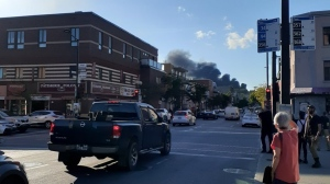 A fire broke out Tuesday afternoon at Rachel and Iberville. photo: Stéphanie Trépanier