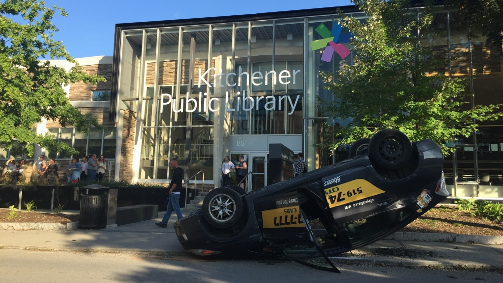 Car rollover forces Kitchener library evacuation