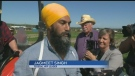 Federal NDP Leader stops by plowing match