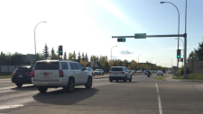 A school bus struck a teen at this intersection Tuesday afternoon, forcing the closure of Ellerslie road for a short time.