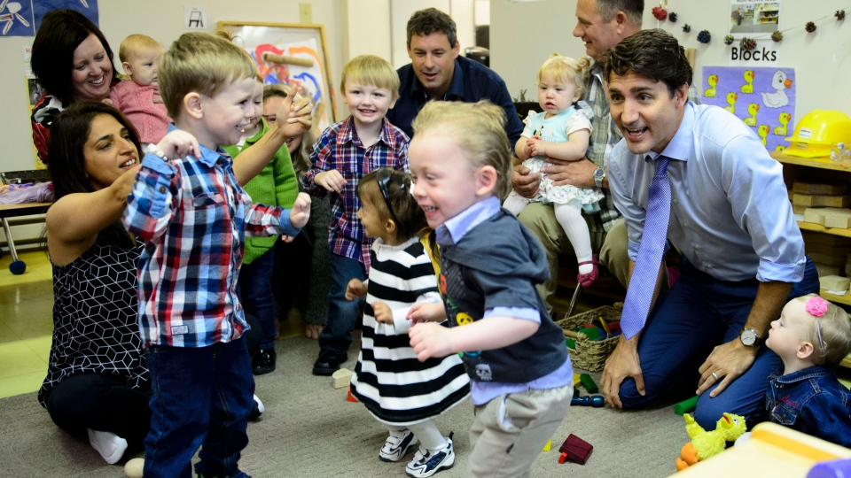 Liberal Leader Justin Trudeau makes a campaign stop at a daycare in St. John's on Tuesday, Sept. 17, 2019. (THE CANADIAN PRESS/Sean Kilpatrick)