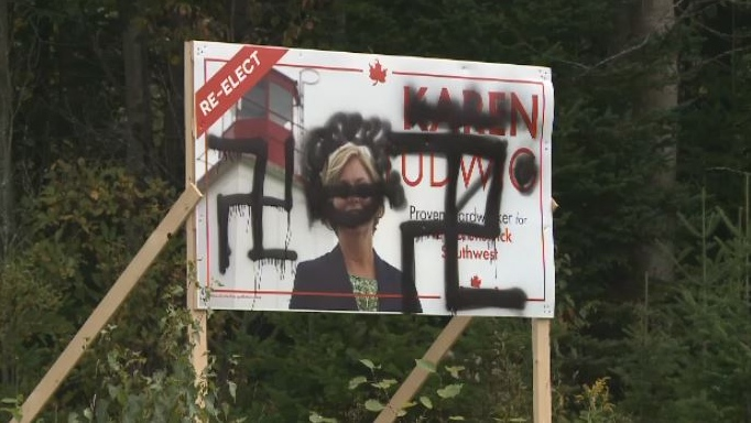'Hateful' graffiti on N.B. federal election candidate's signs 'has no place,' Jewish group says