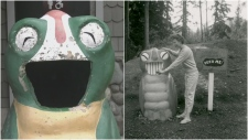 The current Garbage Gobbler in Langford (Left) and a similar Garbage Gobbler in BC from 1958 (Right). (Photo courtesy of John Threlfall)