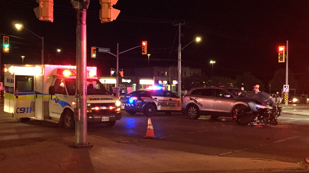 Motorcycle and SUV collide sending two people to hospital