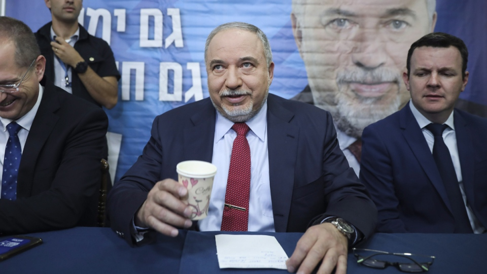 FILE - In this May 30, 2019 file photo, former Israeli Defense Minister and Yisrael Beiteinu party leader Avigdor Lieberman speaks at a press conference in Tel Aviv, Israel. (Oded Balilty / AP)