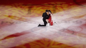 Tessa Virtue and Scott Moir perform during the figure skating exhibition gala in the Gangneung Ice Arena at the 2018 Winter Olympics, on Feb. 25, 2018. (Felipe Dana / THE CANADIAN PRESS / AP)