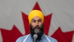 NDP Leader Jagmeet Singh speaks during a town hall meeting in Sudbury, Ont., on Tuesday, September 17, 2019. (THE CANADIAN PRESS / Adrian Wyld)