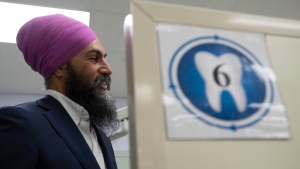 NDP leader Jagmeet Singh is seen in a dental hygienist training facility at a college in Sudbury, Ontario on Wednesday September 18, 2019. THE CANADIAN PRESS/Adrian Wyld