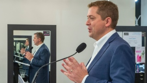 Federal Conservative leader Andrew Scheer speaks at a campaign event in Winnipeg on Tuesday, September 17, 2019. (THE CANADIAN PRESS / Frank Gunn)